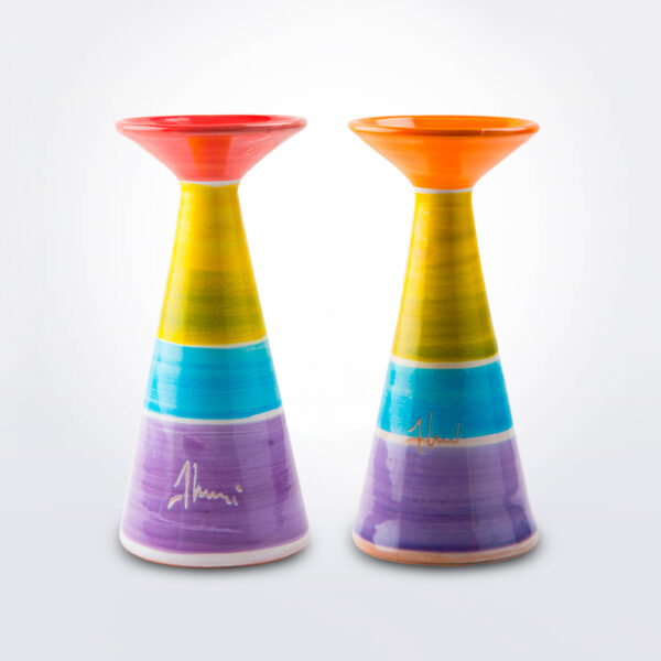 Multicolor ceramic candle holder product picture.