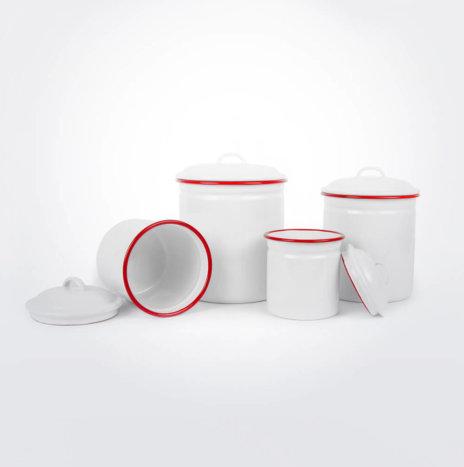 Red & White Enamel Canister Set