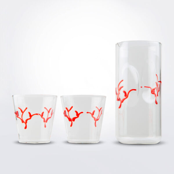 Red coral pitcher and tumbler set product picture.