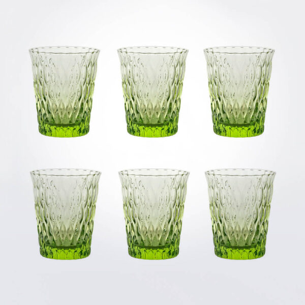 Acid green tumbler glass set six pieces together.
