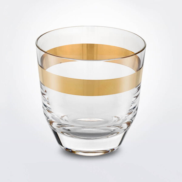 Clear and gold whiskey glass set.