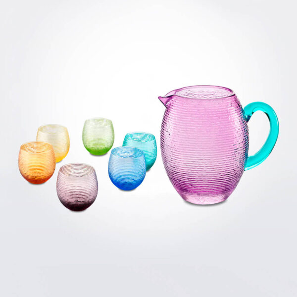 Colored glass jar beaker set.