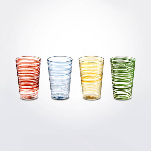 Colored glass tumbler set.