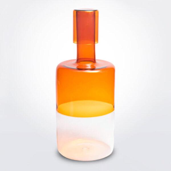 Cylinder amber bottle.