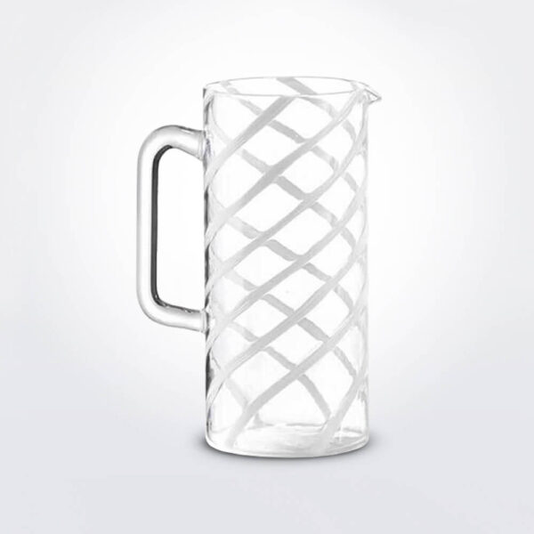 Glass white spirale carafe.