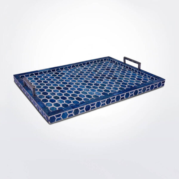 Honeycomb indigo tray large product picture.
