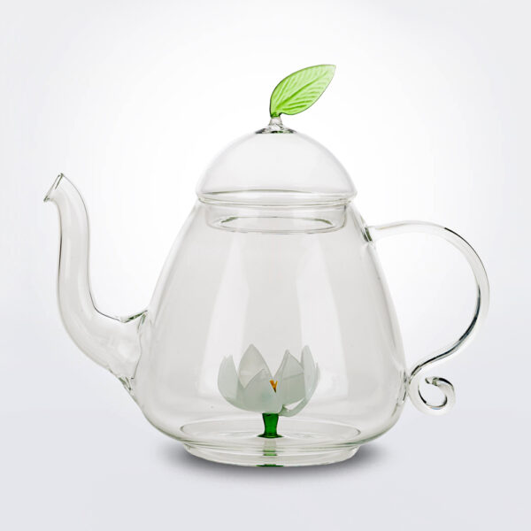 Lotus glass teapot product picture.
