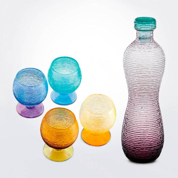 Multicolor glassware set complete pieces.