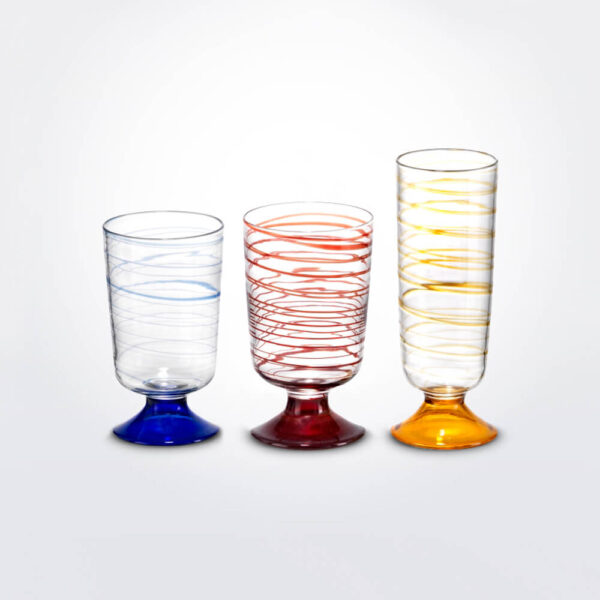 Tricolor glass set grey background.