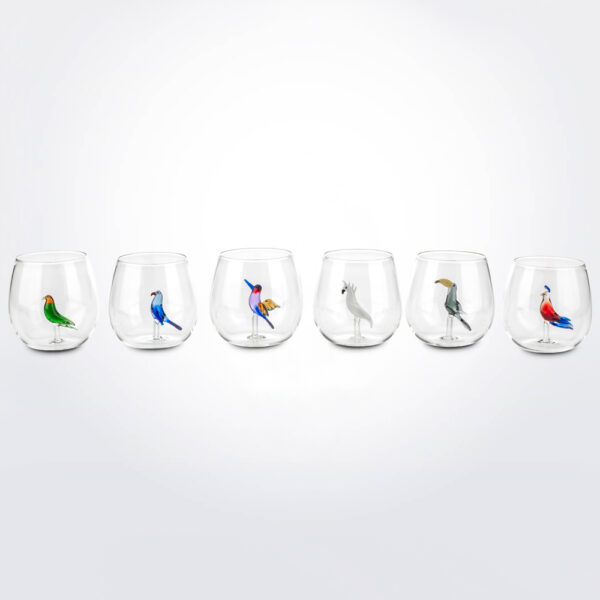 Tropical bird glass set product picture.