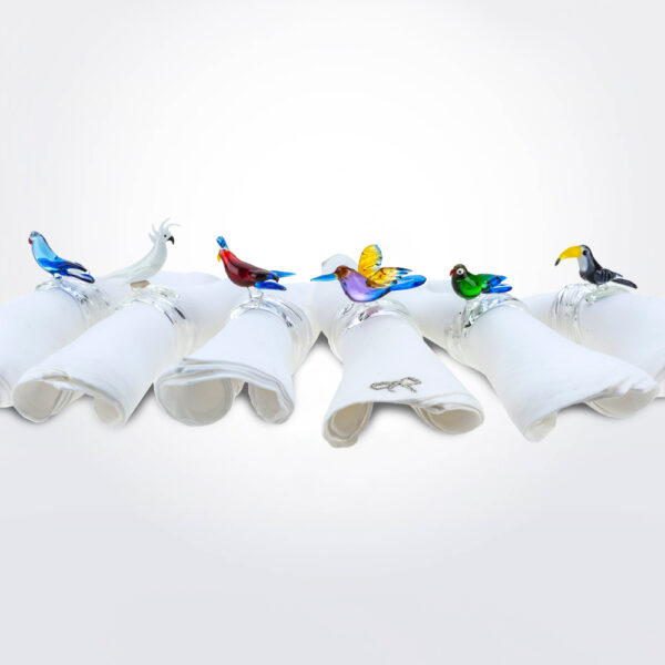 Tropical bird napkin ring set product picture.