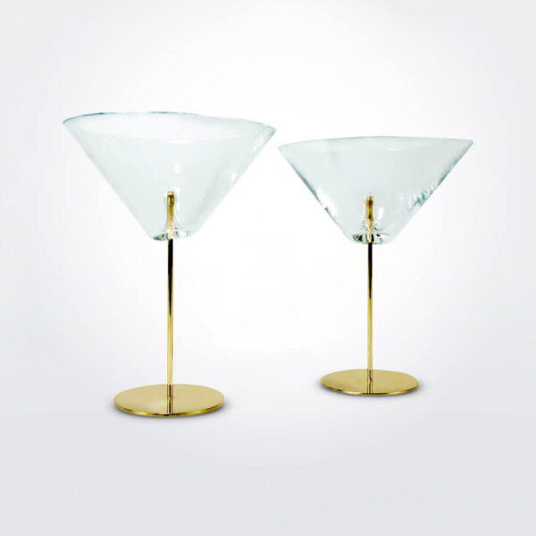 Golden stemware glass set: Martini glass pick set