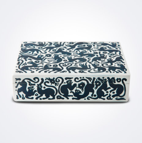 Blue & White Wooden Tea Box