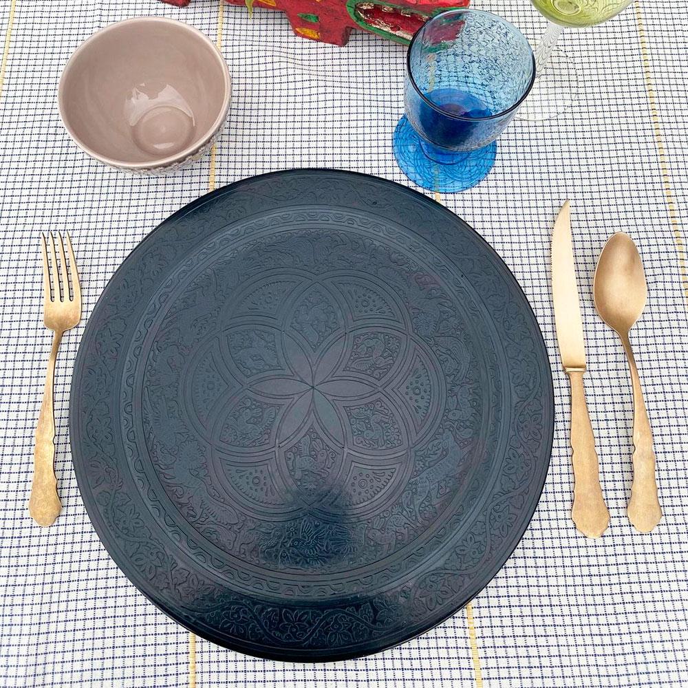 Black-olinala-round-tray