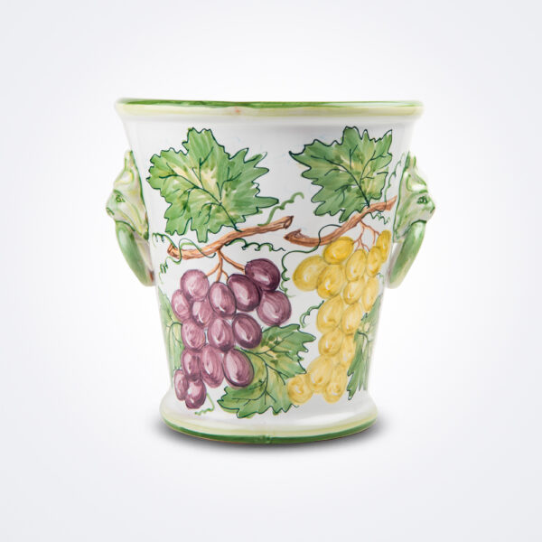Ceramic lion head wine bucket product photo.