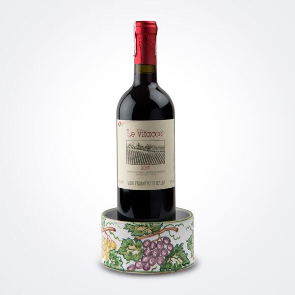 Ceramic wine stand with wine.