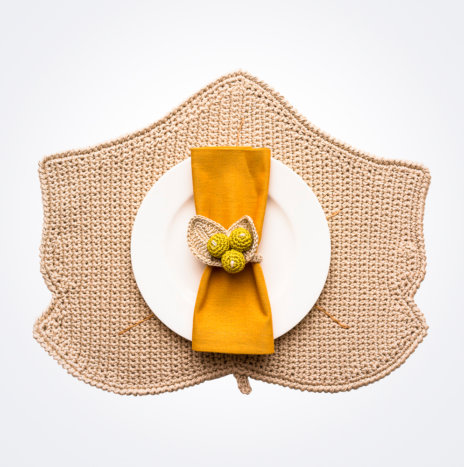 Crochet Autumn Leaf Placemat and Napkin Ring Set