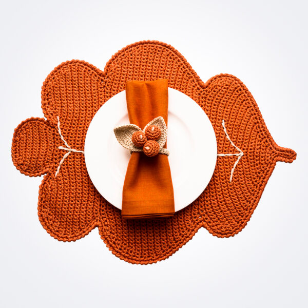 Crochet autumn orange placemat and napkin ring set.