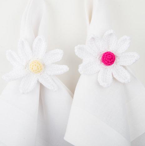 Crochet Daisy Napkin Ring Set II