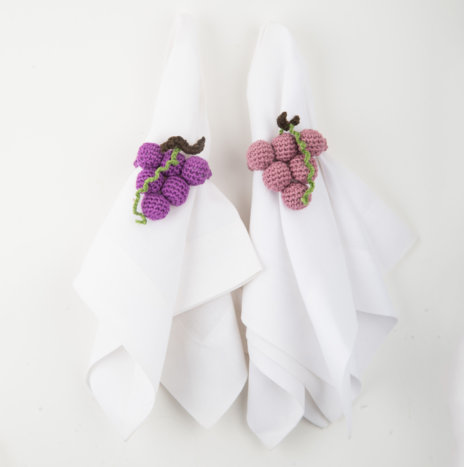 Crochet Grape Napkin Ring Set IV