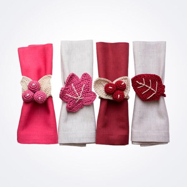 Crochet pink hues napkin ring set complete set.