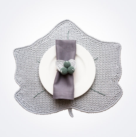 Crochet Winter Gray Leaf Placemat and Napkin Ring Set