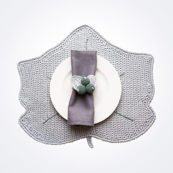 Crochet winter gray leaf placemat and napkin ring set complete set.