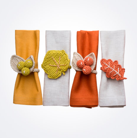 Crochet Yellow Hues Napkin Ring Set