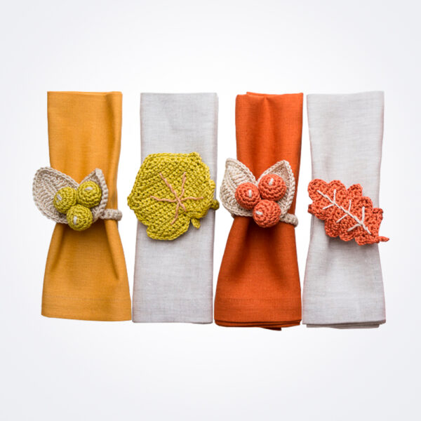 Yellow Hues Crochet Napkin Ring Set complete set.