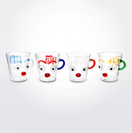 Faces Glass Mug Set