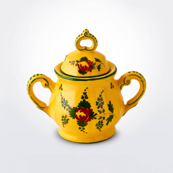 Oriente Italiano giallo sugar pot grey background.