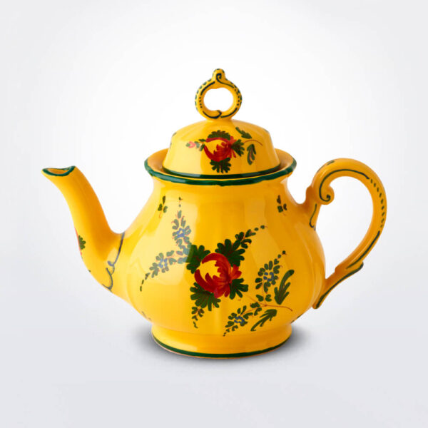 Oriente Italiano Giallo teapot gray background.