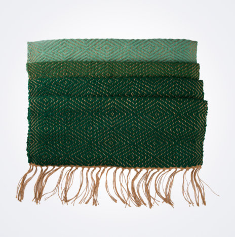 Green Wool And Jute Bed Runner