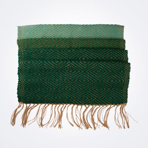 Green wool and jute bed runner product picture.