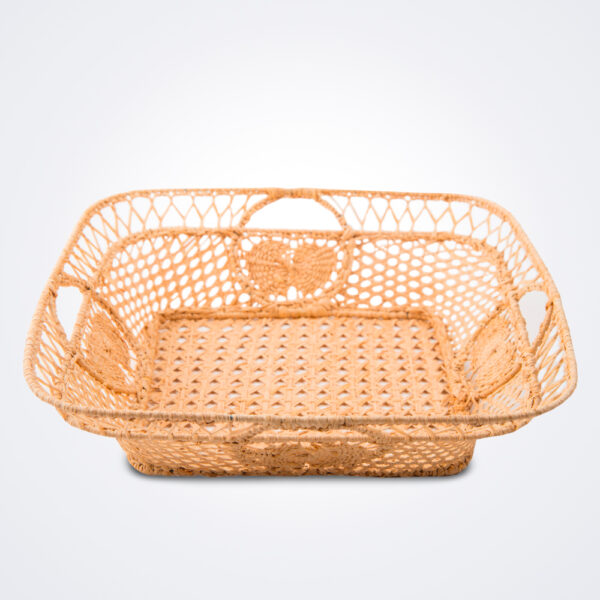 Raffia square basket product photo.
