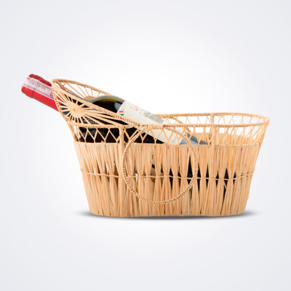 Raffia wine carrier tray with wine.