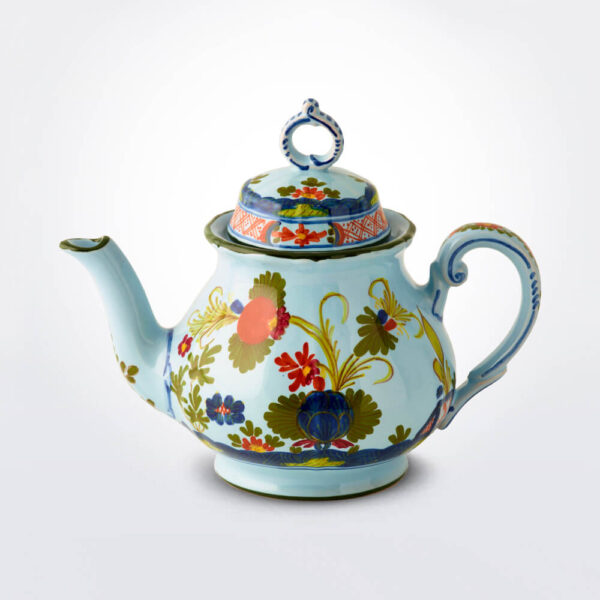 Blue Majolica teapot product picture.