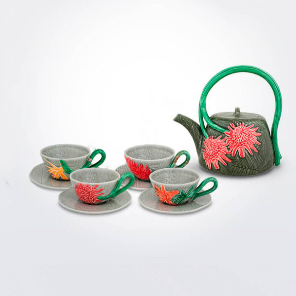 Tropical tea service set background.