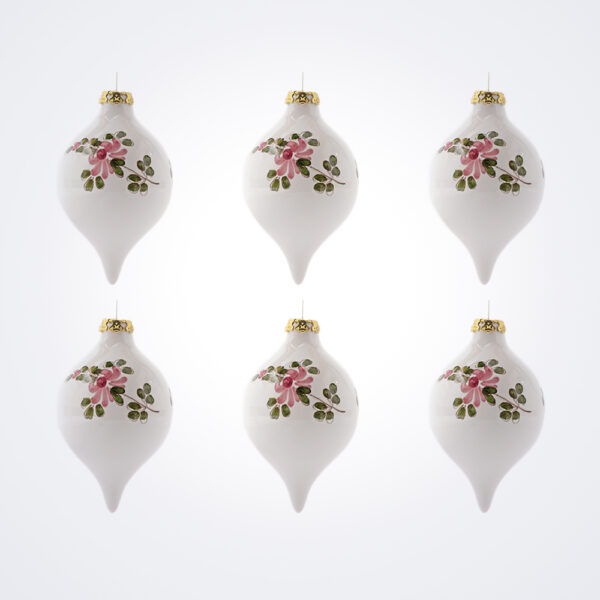 White Droplet Christmas Baubles Set.