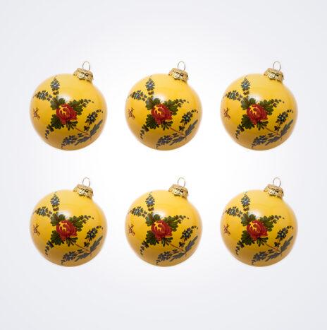 Yellow Ball Christmas Bauble Set