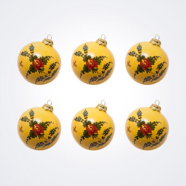 Yellow Ball Christmas Baubles Set.