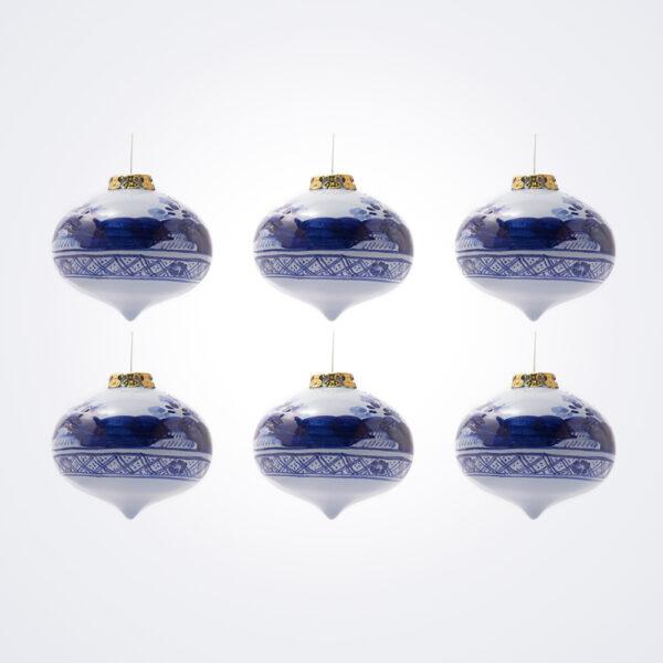 Blue Onion Christmas Bauble Set.