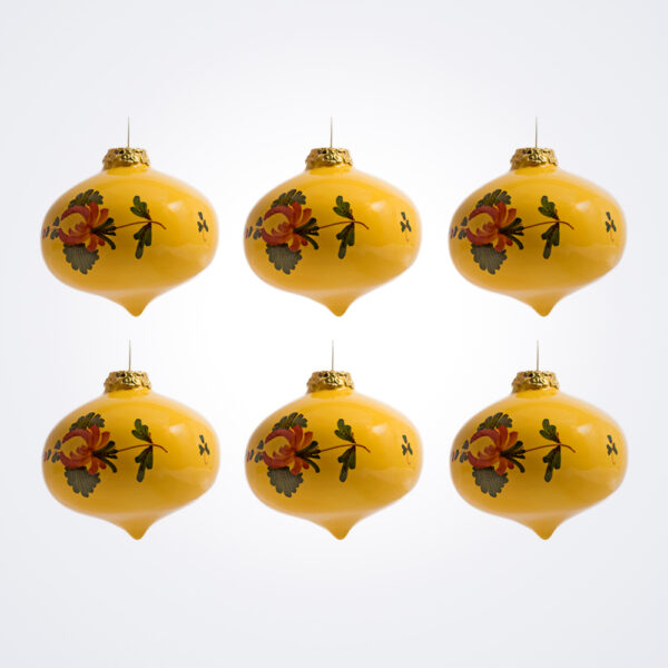Yellow Onion Christmas Baubles Set.