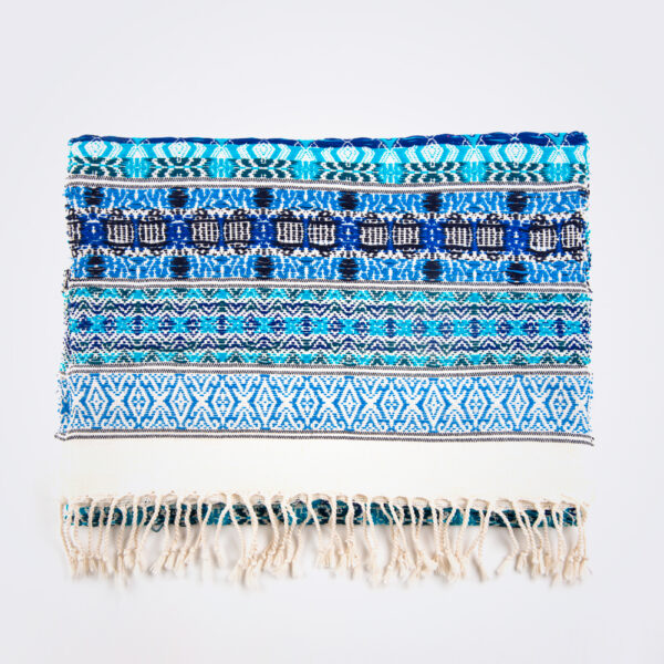 Blue hues table runner product picture.