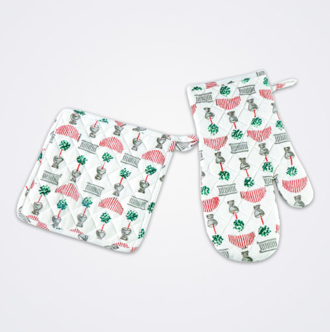 Christmas Topiary Oven Mitt & Pot Holder Set