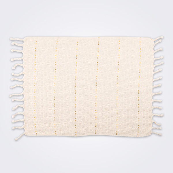 Cream fringed placemat set product picture.