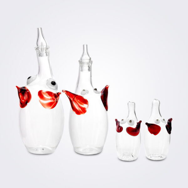 Elephant glass oil dispenser set product picture.