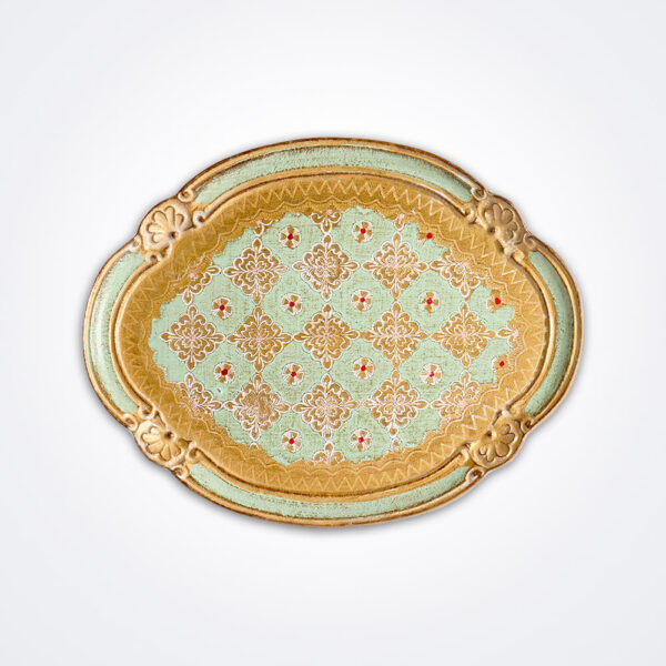 Florentine green wooden oval tray product picture.