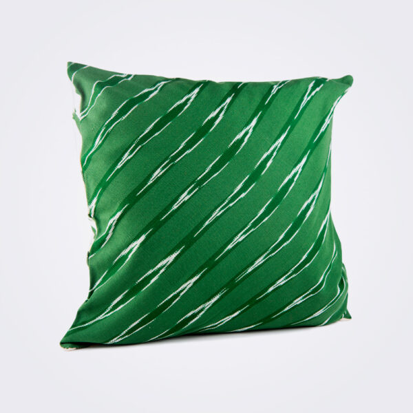 Green serpentine square pillow cover product picture.
