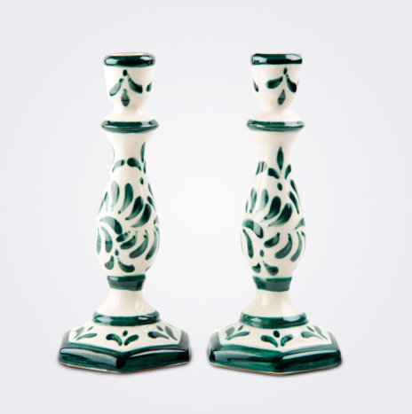 Handpainted Ceramic Candle Holder Set